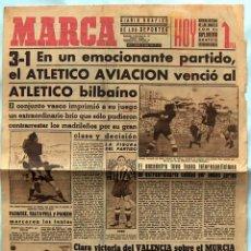 Coleccionismo deportivo: MARCA Nº 482 1944, 3-1 EL ATLETICO AVIACIÓN VENCIO AL ATLETICO BILBAINO. Lote 51085595