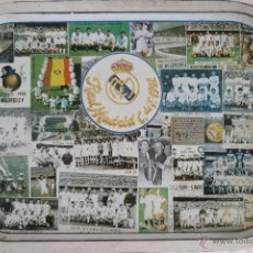 Collectionnisme sportif: REAL MADRID BANDEJA OJALATA .COLECCION,CON FOTOS DE LOS EQUIPOS. ANTIGUA. 40X28,5CM. Lote 51496347