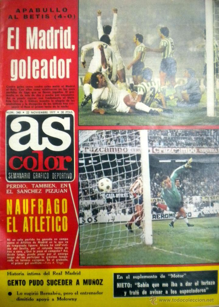 AS COLOR 340 REAL MADRID BETIS NIKI LAUDA F1 D´ALESSANDRO POULIDOR GUILLERMO VILAS HECTOR NUÑEZ (Coleccionismo Deportivo - Revistas y Periódicos - As)
