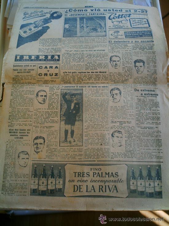 PERIÓDICO MARCA DEL AÑO 1949 FALTA LA PÁGINA DE LA PORTADA (Coleccionismo Deportivo - Revistas y Periódicos - Marca)