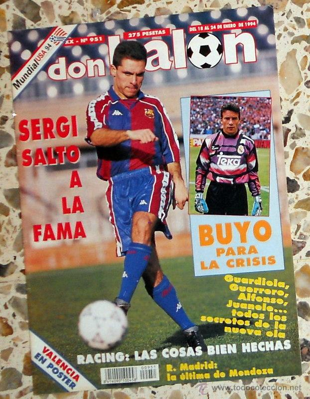 f9624d73b 2 fotos DON BALON Nº951 ENERO 1994 POSTER VALENCIA CF 93/94. SERGI BARJUAN FC  BARCELONA ...