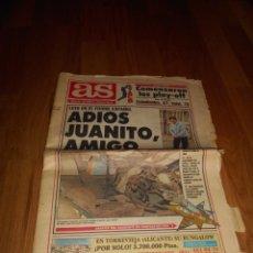 Coleccionismo deportivo: DIARIO PERIÓDICO AS , 3 DE ABRIL DE 1992, MUERTE DE JUAN GÓMEZ JUANITO BUEN ESTADO. Lote 52816434