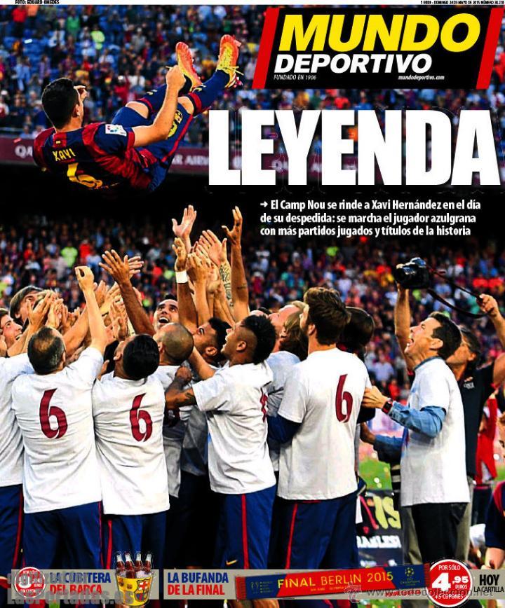 Coleccionismo deportivo: Mundo Deportivo [24 de mayo de 2015][Número 30.210][Campeones de La Liga 14/15 y despedida de Xavi] - Foto 2 - 53168792
