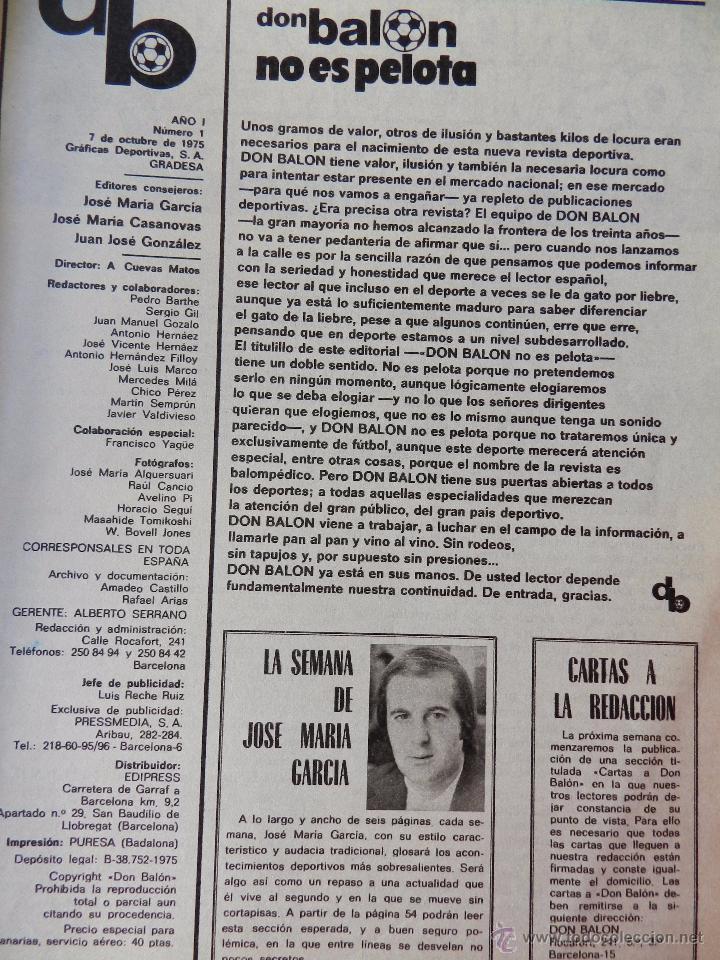 Coleccionismo deportivo: DON BALON Nº 1 1975 POSTER SOTIL FC BARCELONA 75/76 PRIMERA REVISTA NUMERO UNO COLECCIONISTA - Foto 3 - 105264571