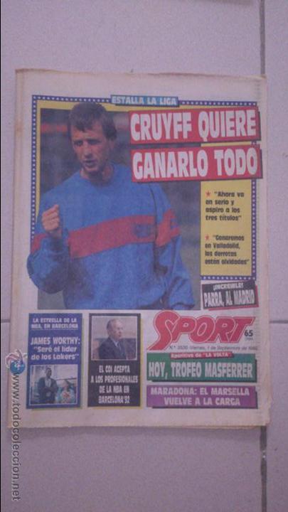 DIARIO SPORT 1989. Nº 3530 (Coleccionismo Deportivo - Revistas y Periódicos - Sport)