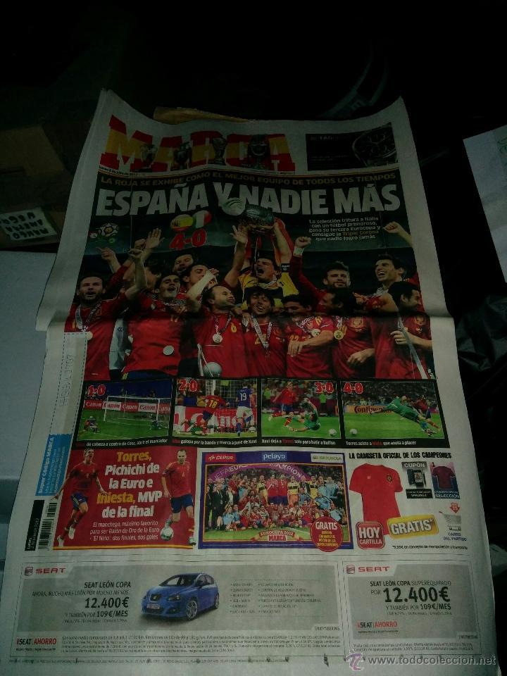 PERIODICO MARCA DEL 2 JULIO 2012, SELECCIÒN DE ESPAÑA DE FUTBOL CONSIGUE LA EUROCOPA (Coleccionismo Deportivo - Revistas y Periódicos - Marca)