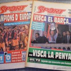 Coleccionismo deportivo: PRIMERA COPA DE EUROPA BARÇA. SPORT, 21 Y 22 MAYO 1992. POSTERS CENTRAL F.C. BARCELONA. KOEMAN.. Lote 54504756