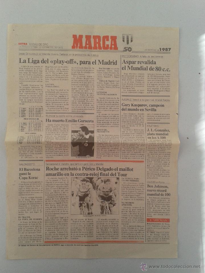 EXTRA BODAS DE ORO DIARIO MARCA 50 ANIVERSARIO , LAS NOTICIAS DE 1987 (Coleccionismo Deportivo - Revistas y Periódicos - Marca)