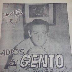 Coleccionismo deportivo: ADIOS A GENTO REAL MADRID SEPARATA DE MARCA . Lote 54865285