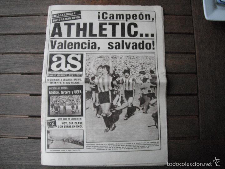 PERIÓDICO AS. ATHLETIC CAMPEÓN DE LIGA. 2-5-83 (Coleccionismo Deportivo - Revistas y Periódicos - As)