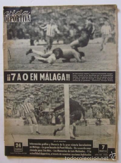 VIDA DEPORTIVA - AÑO 1963 - LA GOLEADA DEL BARCELONA POR 7 A O AL MALAGA (Coleccionismo Deportivo - Revistas y Periódicos - Vida Deportiva)