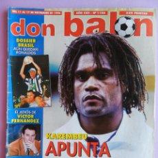 Coleccionismo deportivo: DON BALON 1996-Nº 1100 POSTER RONALDO BARÇA 96/97-KAREMBEU-POYET-SONGO'O-BRASIL-VICTOR FERNANDEZ. Lote 57252931