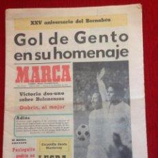 Coleccionismo deportivo: MARCA 15 DICIEMBRE 1972 HOMENAJE A GENTO REAL MADRID OS BELENENSES. Lote 57439006