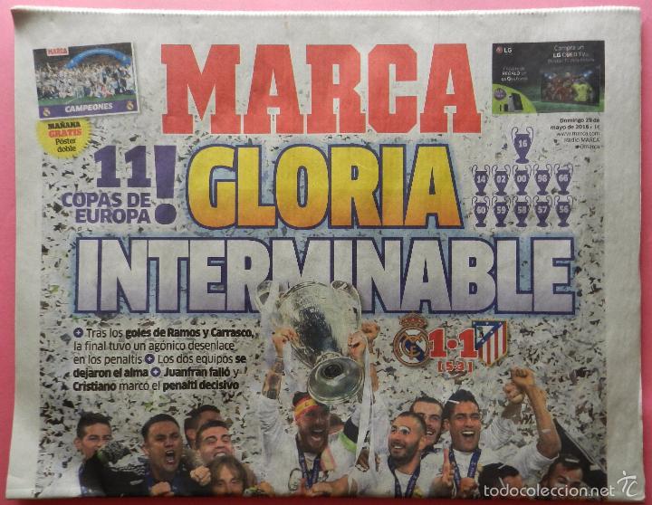 DIARIO MARCA REAL MADRID CAMPEON CHAMPIONS LEAGUE 15/16 CAMPEONES LA UNDECIMA COPA EUROPA 2015 2016 (Coleccionismo Deportivo - Revistas y Periódicos - Marca)