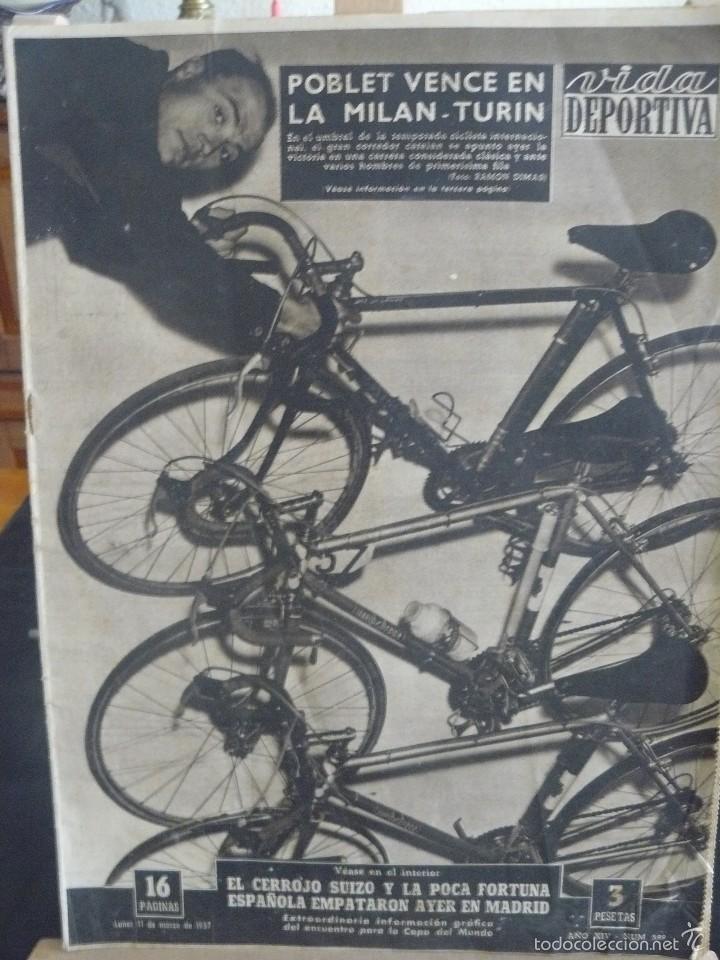 VIDA DEPORTIVA - POBLET VENCE EN LA MILAN - TURIN - 1957 (Coleccionismo Deportivo - Revistas y Periódicos - Vida Deportiva)
