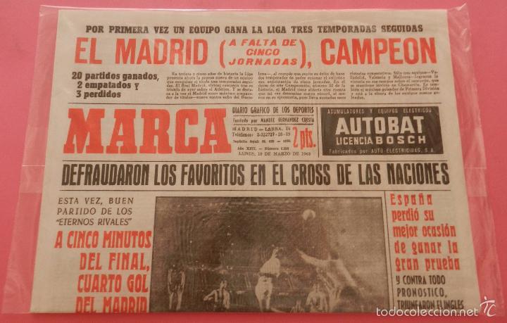 Coleccionismo deportivo: DIARIO MARCA REAL MADRID CAMPEON LIGA 62/63 COPIA FACSIMIL TEMPORADA 1962/1963 - 32 LIGAS BLANCAS - Foto 2 - 57567026