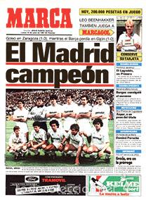 DIARIO MARCA REAL MADRID CAMPEON LIGA 86/87 COPIA FACSIMIL TEMPORADA 1986/1987 - 32 LIGAS BLANCAS (Coleccionismo Deportivo - Revistas y Periódicos - Marca)