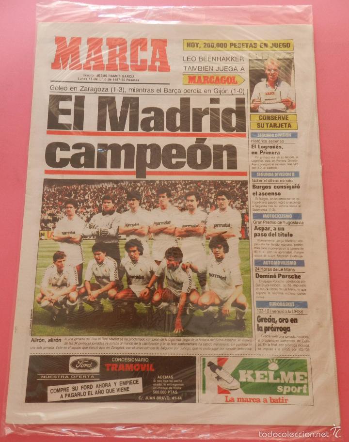 Coleccionismo deportivo: DIARIO MARCA REAL MADRID CAMPEON LIGA 86/87 COPIA FACSIMIL TEMPORADA 1986/1987 - 32 LIGAS BLANCAS - Foto 2 - 57568875