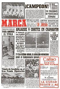 DIARIO MARCA REAL MADRID CAMPEON LIGA 60/61 COPIA FACSIMIL TEMPORADA 1960/1961 - 32 LIGAS BLANCAS (Coleccionismo Deportivo - Revistas y Periódicos - Marca)