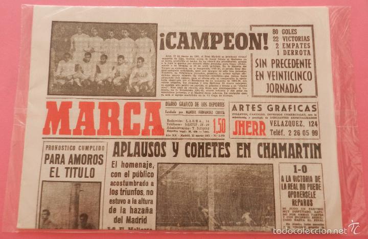 Coleccionismo deportivo: DIARIO MARCA REAL MADRID CAMPEON LIGA 60/61 COPIA FACSIMIL TEMPORADA 1960/1961 - 32 LIGAS BLANCAS - Foto 2 - 57568949