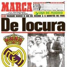 Coleccionismo deportivo: DIARIO MARCA REAL MADRID CAMPEON LIGA 85/86 COPIA FACSIMIL TEMPORADA 1985/1986 - 32 LIGAS BLANCAS. Lote 107676328