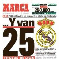 Coleccionismo deportivo: DIARIO MARCA REAL MADRID CAMPEON LIGA 89/90 COPIA FACSIMIL TEMPORADA 1989/1990 - 32 LIGAS BLANCAS. Lote 107676260