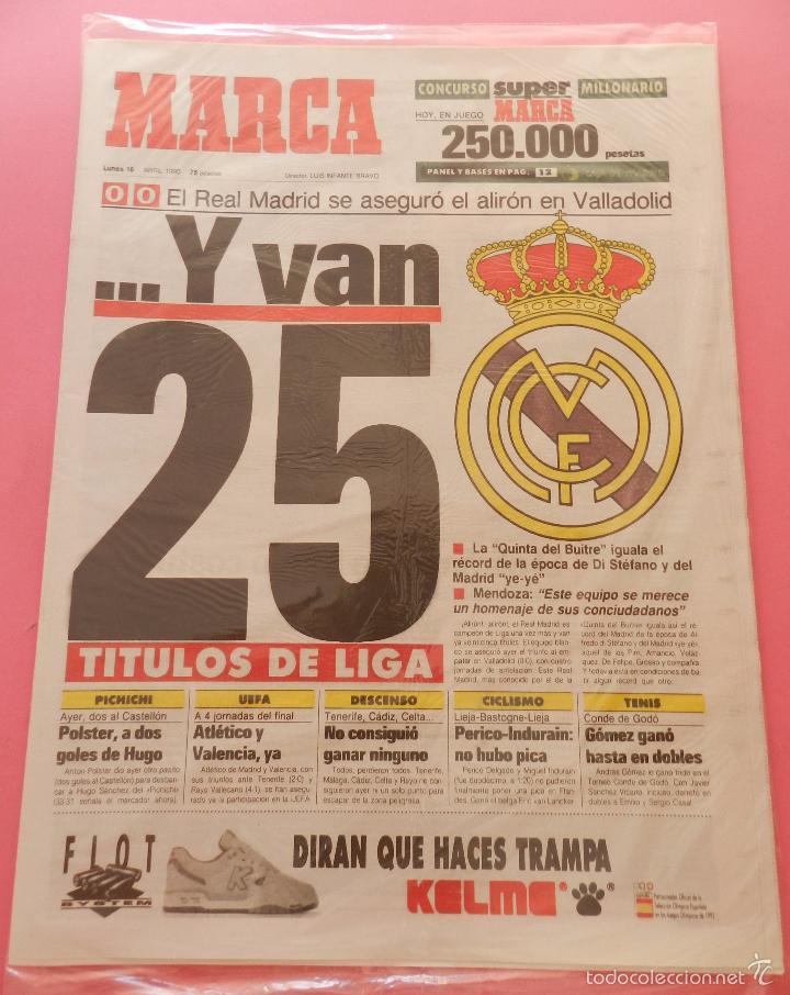 Coleccionismo deportivo: DIARIO MARCA REAL MADRID CAMPEON LIGA 89/90 COPIA FACSIMIL TEMPORADA 1989/1990 - 32 LIGAS BLANCAS - Foto 3 - 107676260