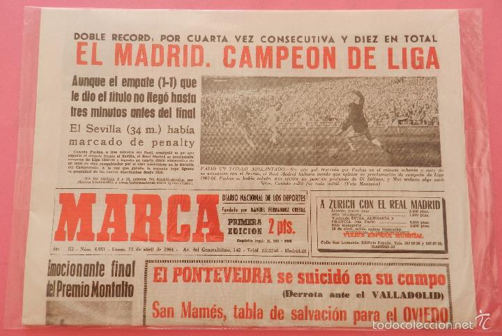 Coleccionismo deportivo: DIARIO MARCA REAL MADRID CAMPEON LIGA 63/64 COPIA FACSIMIL TEMPORADA 1963/1964 - 32 LIGAS BLANCAS - Foto 2 - 57569196