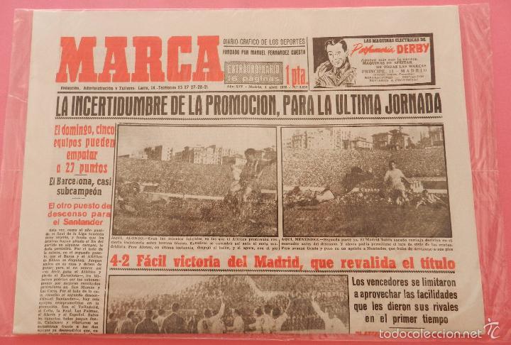 Coleccionismo deportivo: DIARIO MARCA REAL MADRID CAMPEON LIGA 54/55 FACSIMIL TEMPORADA 1954/1955 - 32 LIGAS BLANCAS - Foto 2 - 57626436
