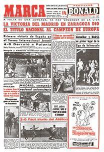DIARIO MARCA REAL MADRID CAMPEON LIGA 56/57 FACSIMIL TEMPORADA 1956/1957 - 32 LIGAS BLANCAS (Coleccionismo Deportivo - Revistas y Periódicos - Marca)