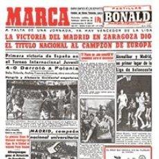 Coleccionismo deportivo: DIARIO MARCA REAL MADRID CAMPEON LIGA 56/57 FACSIMIL TEMPORADA 1956/1957 - 32 LIGAS BLANCAS. Lote 57626557