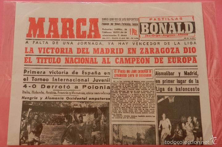 Coleccionismo deportivo: DIARIO MARCA REAL MADRID CAMPEON LIGA 56/57 FACSIMIL TEMPORADA 1956/1957 - 32 LIGAS BLANCAS - Foto 2 - 57626557