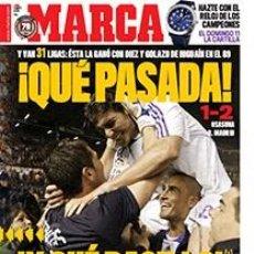 Coleccionismo deportivo: DIARIO MARCA REAL MADRID CAMPEON LIGA 07/08 FACSIMIL TEMPORADA 2007/2008 - 32 LIGAS BLANCAS PASILLO. Lote 57626610