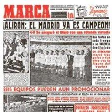Coleccionismo deportivo: DIARIO MARCA REAL MADRID CAMPEON LIGA 53/54 REPLICA FACSIMIL TEMPORADA 1953/1954 - 32 LIGAS BLANCAS. Lote 57648282