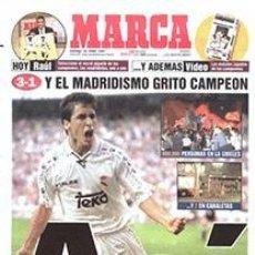 Coleccionismo deportivo: DIARIO MARCA REAL MADRID CAMPEON LIGA 96/97 REPLICA FACSIMIL TEMPORADA 1996/1997 - 32 LIGAS BLANCAS. Lote 57648534