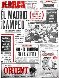DIARIO MARCA REAL MADRID CAMPEON LIGA 71/72 REPLICA FACSIMIL TEMPORADA 1971/1972 - 32 LIGAS BLANCAS (Coleccionismo Deportivo - Revistas y Periódicos - Marca)