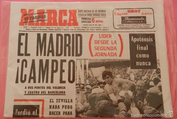Coleccionismo deportivo: DIARIO MARCA REAL MADRID CAMPEON LIGA 71/72 REPLICA FACSIMIL TEMPORADA 1971/1972 - 32 LIGAS BLANCAS - Foto 2 - 145481568