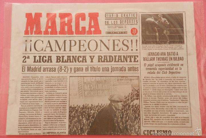 DIARIO MARCA REAL MADRID CAMPEON SEGUNDA LIGA 32/33 FACSIMIL TEMPORADA 1932/1933 - 32 LIGAS BLANCAS (Coleccionismo Deportivo - Revistas y Periódicos - Marca)