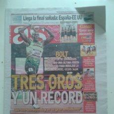 Coleccionismo deportivo: PERIODICO DIARIO AS DIA 12 DE AGOSTO 2012 USAIN BOLT TRES OROS Y UN RECORD. Lote 57996719
