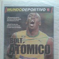 Coleccionismo deportivo: MUNDO DEPORTIVO SUPLEMENTO ESPECIAL DE LOS JUEGOS OLIMPICOS LONDRES 2012 6 AGOSTO USAIN BOLT. Lote 57997140