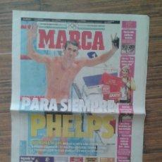 Coleccionismo deportivo: DIARIO MARCA DIA 5 DE AGOSTO 2012 MICHAEL PHELPS SE RETIRA A LOS 27 AÑOS DESPEDIDA DE ORO. Lote 57997312