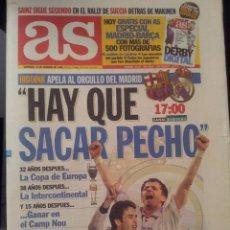 Coleccionismo deportivo: AS 14/FEBRERO/1999 PREVIA BARÇA - REAL MADRID HIDDINK. Lote 58015074