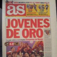 Coleccionismo deportivo: AS 25/ABRIL/1999 CAMPEONES DEL MUNDO SUB-20 ESPAÑA 4 - JAPON 0. Lote 58015423