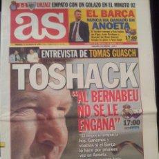 Coleccionismo deportivo: AS 21/MARZO/1999 PREVIA REAL MADRID - EXTREMADURA TOSHACK. Lote 58016118