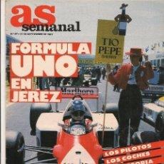 Collectionnisme sportif: AS SEMANAL. Nº 87. FORMULA UNO EN JEREZ. 27 SEPTIEMBRE 1987. (Z9). Lote 58016317