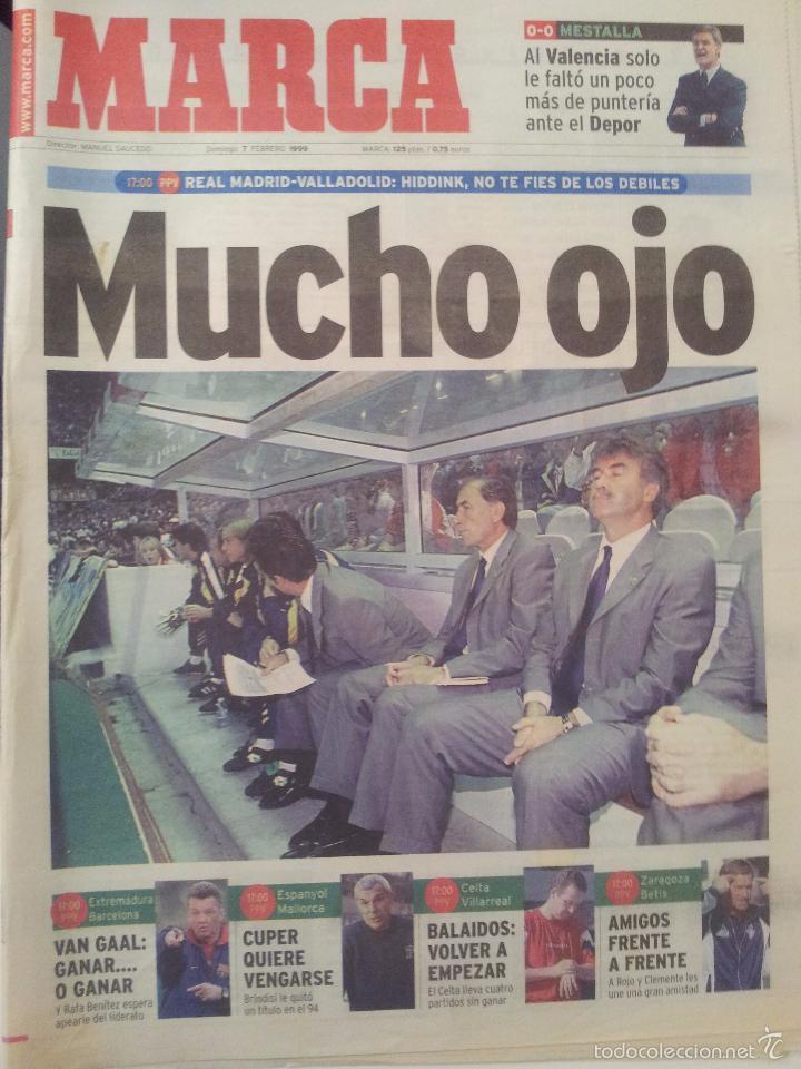 MARCA 7/FEBRERO/1999 PREVIA REAL MADRID - VALLADOLID   HIDDINK (Coleccionismo Deportivo - Revistas y Periódicos - Marca)