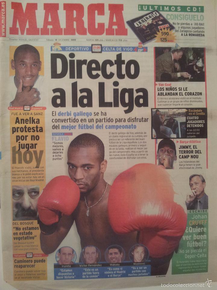 MARCA 18/DICIEMBRE/1999 PREVIO DEPORTIVO - CELTA PORTADA FLAVIO (Coleccionismo Deportivo - Revistas y Periódicos - Marca)