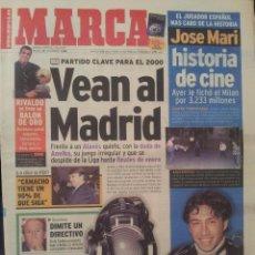 Coleccionismo deportivo: MARCA 21/DICIEMBRE/1999 JOSE MARI PORTADA PREVIA ALAVES - REAL MADRID. Lote 58017682