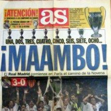 Coleccionismo deportivo: DIARIO AS REAL MADRID CAMPEON COPA EUROPA LA OCTAVA VALENCIA C.F. 2000 PORTADA Y CONTRAPORTADA. Lote 194727856