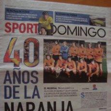 Coleccionismo deportivo: PERIODICO SPORT SUPLEMENTO DOMINGO Nº 32 LA NARANJA MECANICA 2014. Lote 58130767